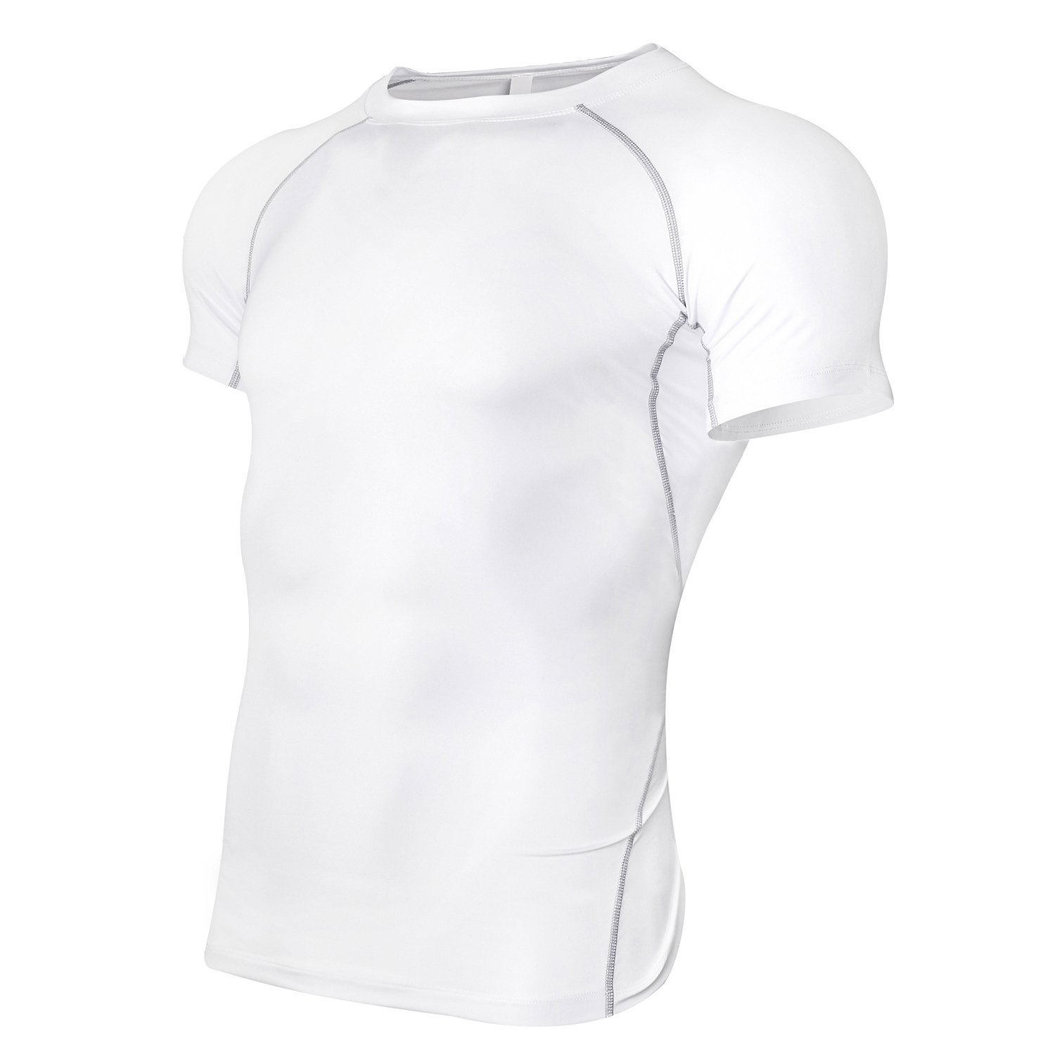 RoxZoom Men's Compression Short Sleeve T-Shirts, Cool Dry Compression Baselayer Tees Moisture Wicking Athletic T-Shirt - White, Medium