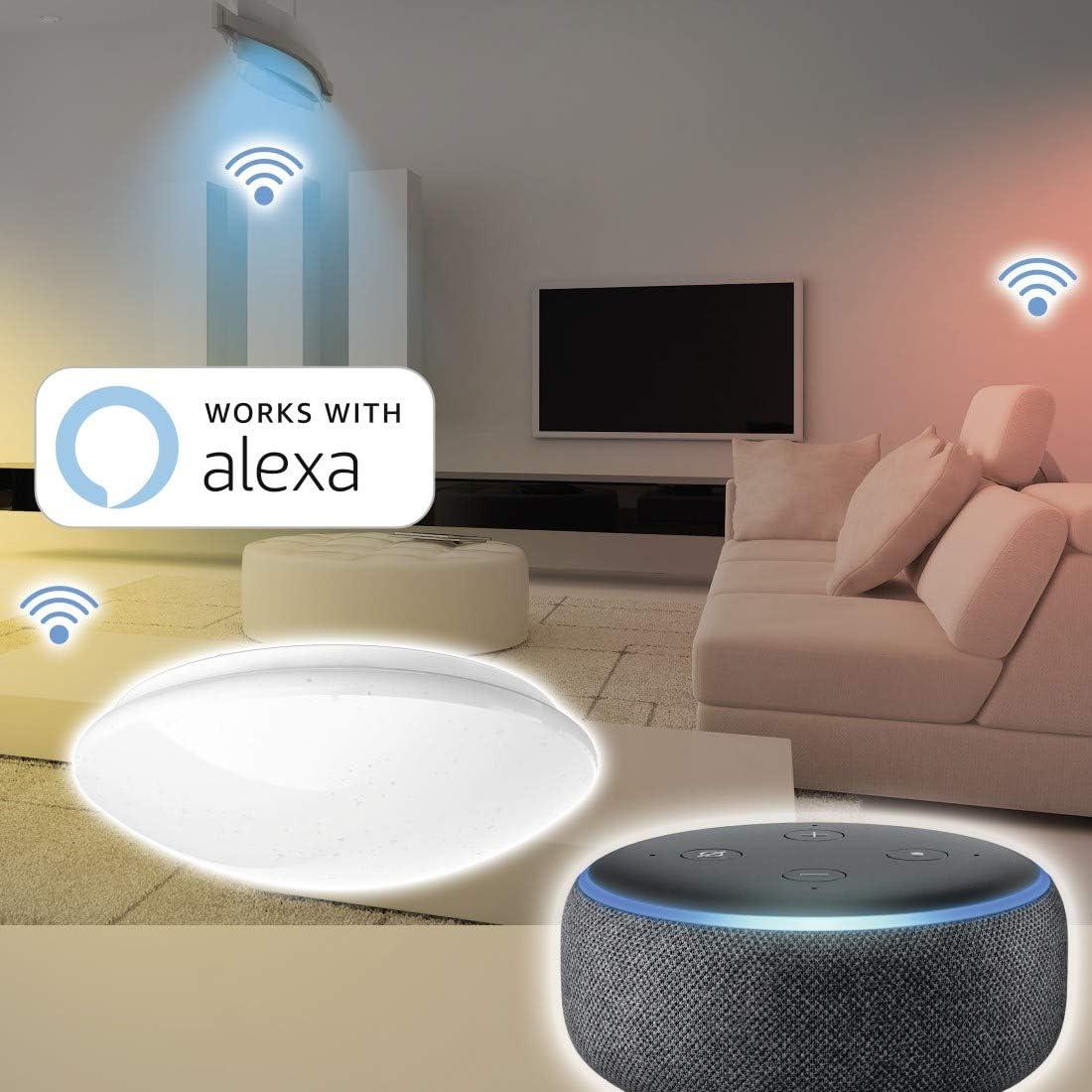 Hama Wi-Fi LED Deckenleuchte, kompatibel mit Alexa/Google Home (ohne Hub,  dimmbar, Ø 4cm, App-/Sprachsteuerung, zB per Echo Dot,