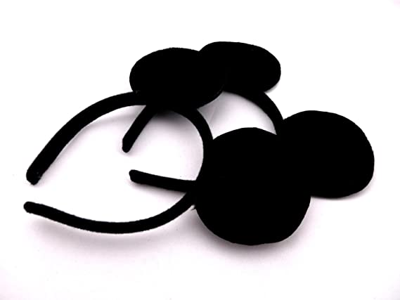 Girls' Clothing 12pcs Hair Accessories Minnie/mickey Ears Solid Black & Red Bow Headband For Boys/girls Birthday Party Celebration Cosplay
