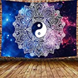 DBLLF Yinyang Tapestry Boutique Blue White Tapestry Wall Hanging Indian Mandala Hippie Bohemian Tapestry for Bedroom Living Room 80×60 Inches DBZY135