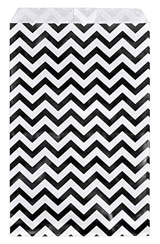 888 Display USA - 200 pcs Chevron Paper Gift Bags Shopping Sales Tote Bags (Black, 4