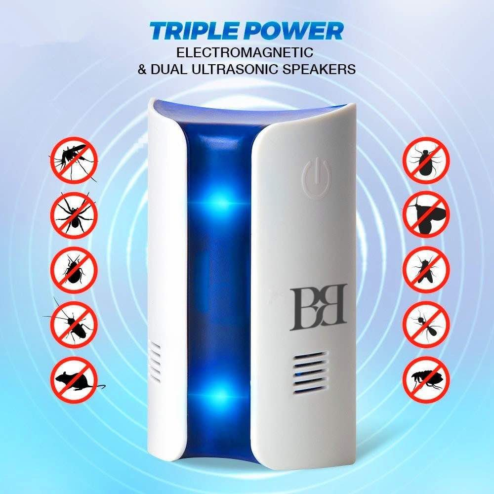 Ultrasound, BB, Repellent Mosquitoes Repellent, Ultrasound Insect Repellent, With Courtesy Light with Touch Key on Soft Light Effect Light Blue Point Of Light In The Night And Harmless for Pets BBmarket