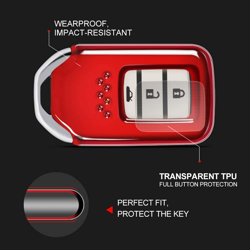 Premium Soft Rubber For Honda Key Case To Protect the Car Keys From Scratches Lightweight and Durable for A2C81642600 2015 2016 2017 Honda crv//Honda accord For Honda Key Cover Red