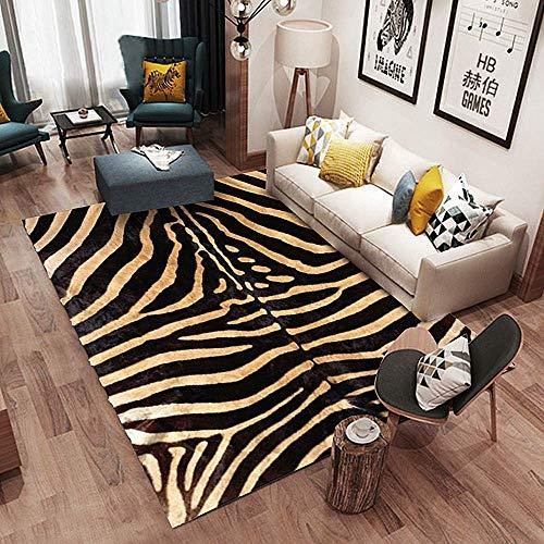 WJSWM Modern Area Rug Zebra Ivory, Non-Slip Latex Bottom Soft Rugs Living Room/Bedroom Runner,140210cm,B,140210cm