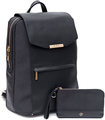 P.MAI Premium Valletta Leather Laptop Backpack for Women with Wristlet I 15-Inch Executive Laptop and Notebook Computer Backpack I Ideal for Business, Travel, Work I Incl. Commuter Purse Black
