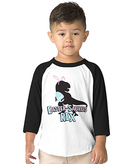 a9dfc326 SpiritForged Apparel Easter-Saurus Rex Toddler 3/4 Raglan Shirt, Black 2T/