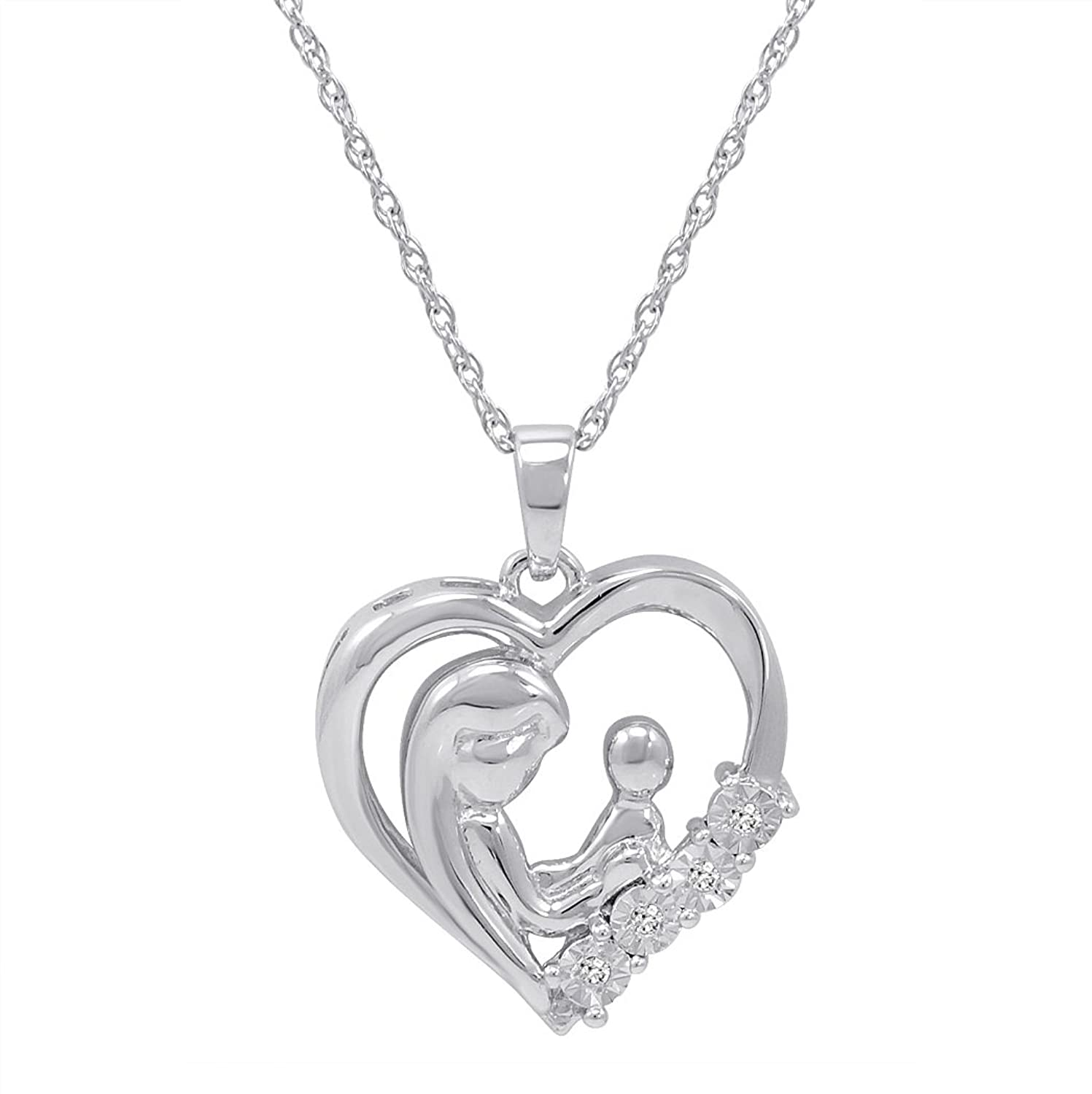 Amazon Mothers Love Diamond Heart Pendant Necklace in