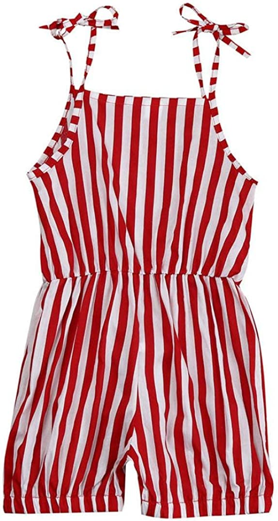 Fabal Toddler Kid Baby Girl Stripe Print Straps Rompers Jumpsuits Piece Pants Clothing