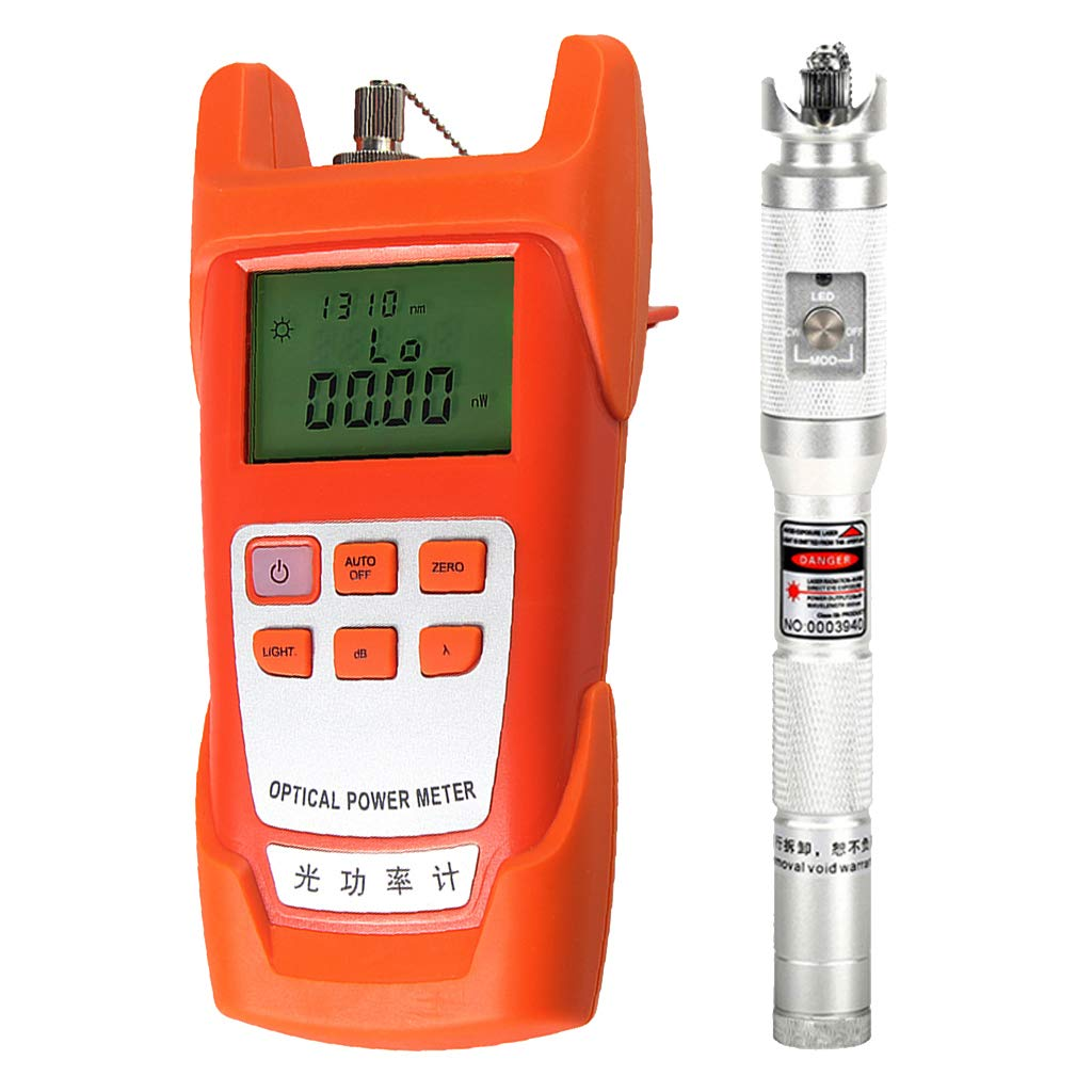 Baosity 1Set Fiber Optic Cable Tester Optical Power Meter with Sc & Fc Connector Fiber Tester +20mW Visual Fault Locator for CATV Test,CCTV Test Silver