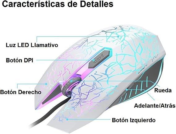 VersionTECH. Ratón Gaming con Cable hasta 2400 DPI Ratón Ergonómico Óptico para Juegos con 7 Colores Luz LED 6 Botón Gaming Mouse Wired para ...