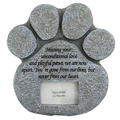 ZENY Paw Print Pet Memorial Stone with Photo Frame & Symp...