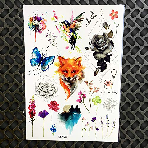 - GVDTYKJF Tattoos Sticker Geometric Lion Triangle Tattoos Wolamp Bulb Whale Eagle Jellyfish Scorpion Landscape Watercolor Wolf Tattoos Sticker Glz408