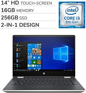HP - Pavilion x360 2-in-1 2019 Premium 14'' HD Touch-Screen Laptop Notebook Computer, 2-Core Intel i3-8145U 2.1 GHz, 16GB RAM, 256GB SSD, No DVD, Wi-Fi, Bluetooth, Webcam, HDMI, Windows 10 Home S