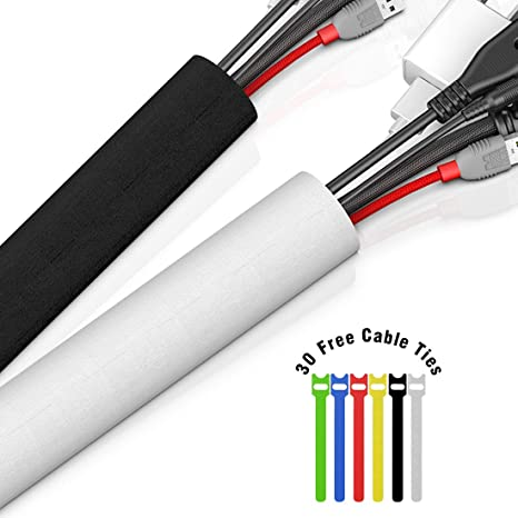 118 Cable Management Sleeve With 30pcs Free Cable Ties Velcro Cord Organizer Cable Concealer Diy Wire Hider Black White For Tv Computer Or Desk By