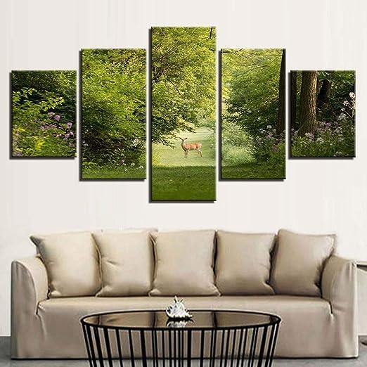 adgkitb canvas Pintura Mural Cinco Piezas Pintura de Lona Elk ...