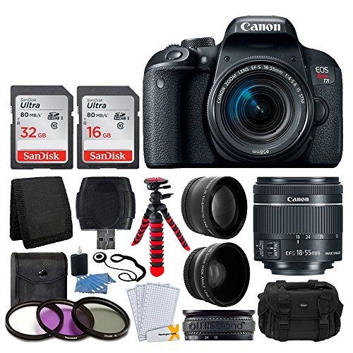 Canon EOS Rebel T7i Digital SLR Camera with EF-S 18-55mm f/4-5.6 IS STM Lens + 58mm Wide Angle Lens + 2x Telephoto Lens + 48GB SD Memory Card + UV Filter Kit + Flexible Tripod + Full Accessory Bundle