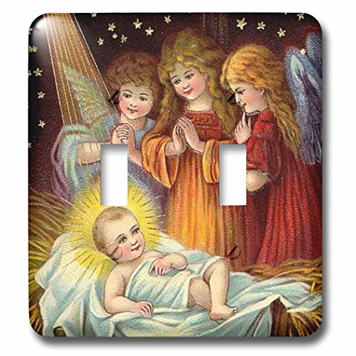 3dRose lsp_165421_2 Baby Jesus and Three Young Angels Vintage Artwork Light Switch Cover