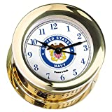 Atlantis Brass Quartz Clock #NV200500 01B (#8 Emblem Printed in Full Color with Navy Blue Numbers)