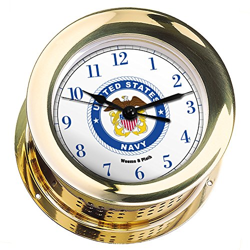Atlantis Brass Quartz Clock #NV200500 01B (#8 Emblem Printed in Full Color with Navy Blue Numbers) by Weems & Plath