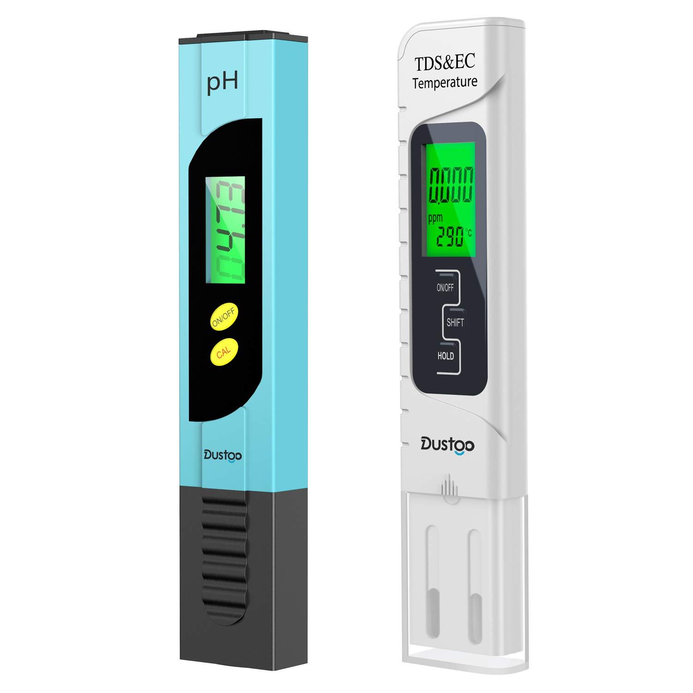 Dustgo Medidor pH Medidor de PH digital 4 en 1 de calidad de agua,Prueba de Calidad del Agua 0-14 pH,0-19990ppm Calibración Automática