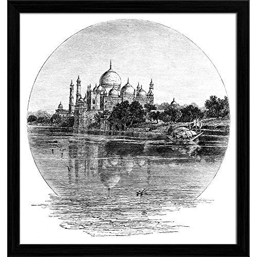 Pitaara Box Victorian Engraving of Taj Mahal India Canvas Painting Black Frame 18 X 19.1Inch