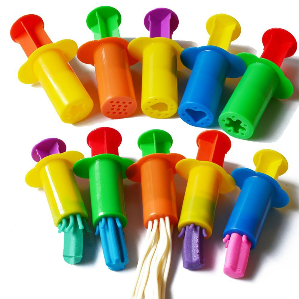 Acmer Dough Extruders Set Assorted Designs Bright colors a set of 10,Dough Extruder Tools Kit for Children,Clay dough extruders.