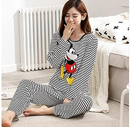VaThaStore Spring Pyjamas Women Carton Cute Pijama Pattern Pajamas Set Thin Pijamas Mujer Sleepwear 90S