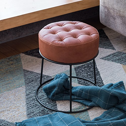 Round Suede Storage Ottoman (Art-Leon Furniture Dwarf Round Stool, Ottoman, Footrest, Small Seat, Faux Leather, Cinamon Orange)