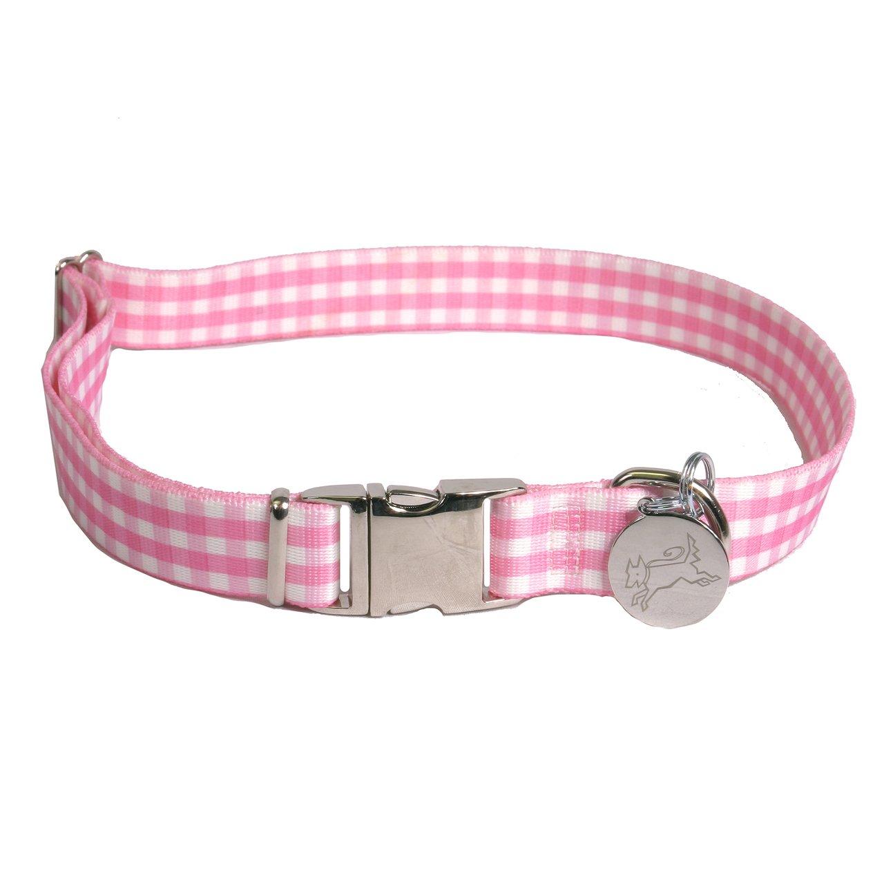 Southern Dawg Gingham Pink Premium Dog Collar - Size Medium 14'' - 20'' by Yellow Dog Design