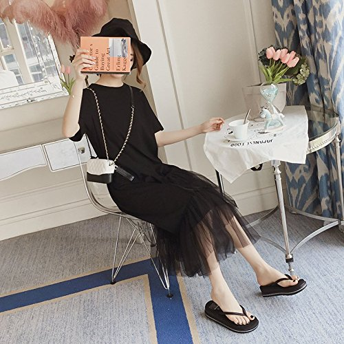 Minimaliste Jupe L en Noir T Robes Robe Shirt Net 2018 MiGMV Longue Femme y ta8Fw6q