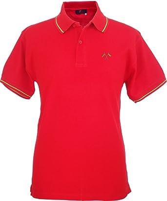 Pi2010 - Polo Hombre Rojo con Bordado Bandera de España en Pecho, Rojo, 100% algodón Talla L: Amazon.es: Ropa y accesorios