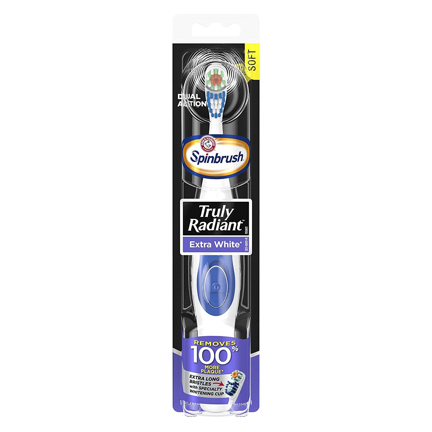 ARM & HAMMER Spinbrush Powered Truly Radiant Toothbrush, Extra White, Soft 1 ea by Arm & Hammer B00M1T2OZW