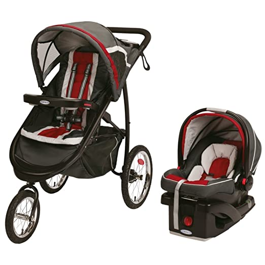 2015 Graco Fastaction Fold Jogger Click Connect Travel System Chili Red