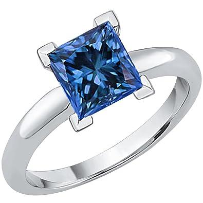 5ba7ada6c Amazon.com: KATARINA Princess Cut Blue Diamond Solitaire Ring in 10K White  Gold: Jewelry