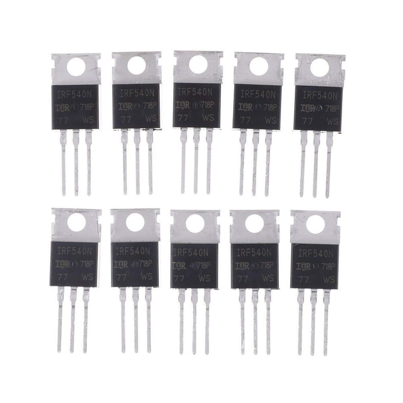 10PCS IRF540N IRF540 TO-220 N-Channel 33A 100V MOSFET di alimentazione ad alta prestazione di effetto tubo portatile Dimensioni