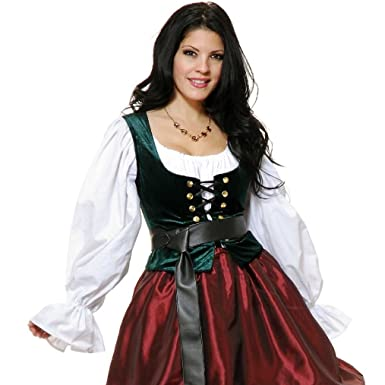 9d2881d3529 Image Unavailable. Image not available for. Color  OvedcRay Adult Woman  Renaissance Pirate Medieval Green Bodice Lace Up Costume Vest Corset