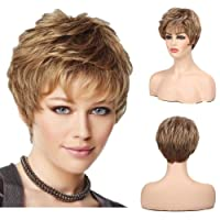 Diy-Wig Short Pixie Cut Blonde Wigs for White Women Fluffy Layered Hair Synthetic Wigs with Bangs 9 Inches
