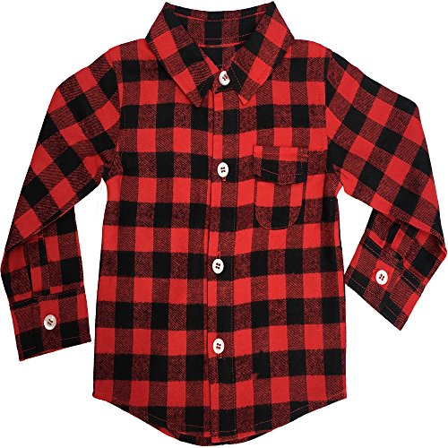Baby Flannel Shirt: Infant Buffalo Plaid for Girl or Boy 6-12M