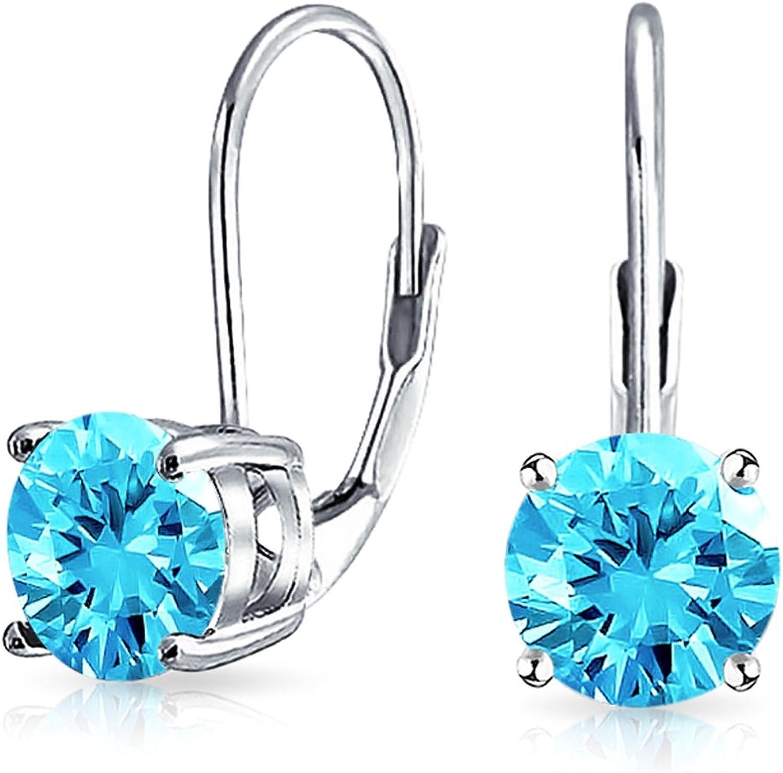 Bling Jewelry 925Plata de Ley Corte Redondo CZ Leverback Pendientes
