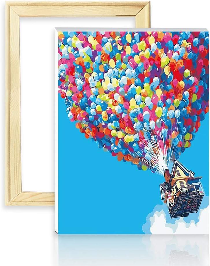decalmile Pintura por Número de Kits DIY Pintura al óleo para Adultos Niños Globo de Colores 16