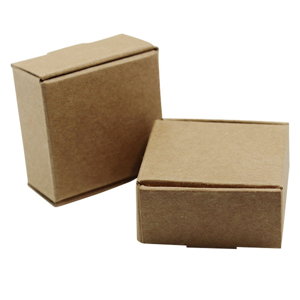 50 Pieces Brown Mini Kraft Paper Party Gift Box Jewelry Ring Earrings Packaging Decoration Boxes Supplies 1.45x1.45x0.79