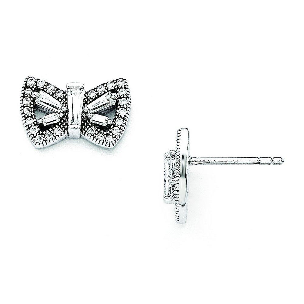 Sterling Silver /& Cz Brilliant Embers Butterfly Post Earrings
