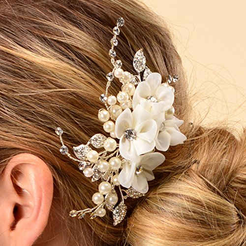 Remedios Bridal Flower Side Hair Comb Wedding Accessory Rhinestone Headpiece