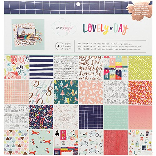 American Crafts 376969 Dear Lizzy Lovely Day Paper Pad 12 X 12 48 Sheet Paper (Day Paper Pad)