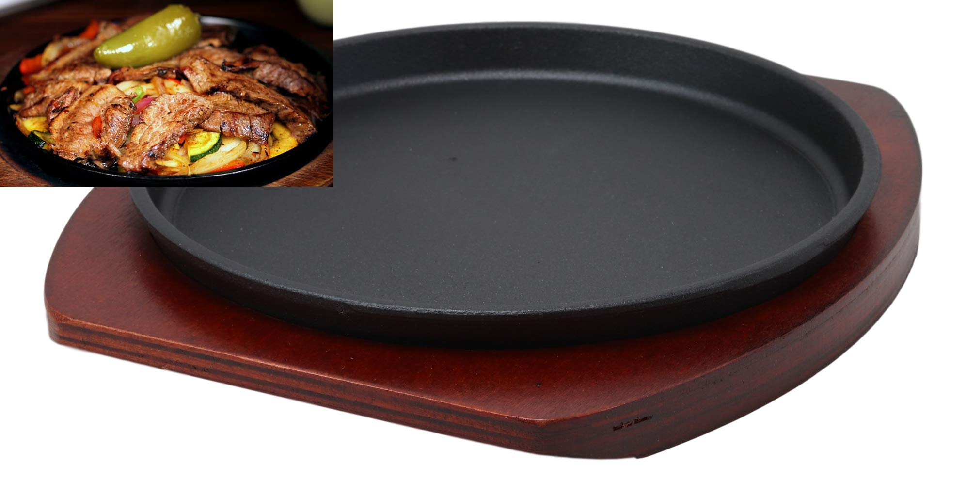 Ebros Personal Size Cast Iron Sizzling Fajita Pan Skillet Japanese Steak Plate With Wood Underliner Base Restaurant Home Kitchen Cooking Supply (Round 8.75''Diameter) by Ebros Gift