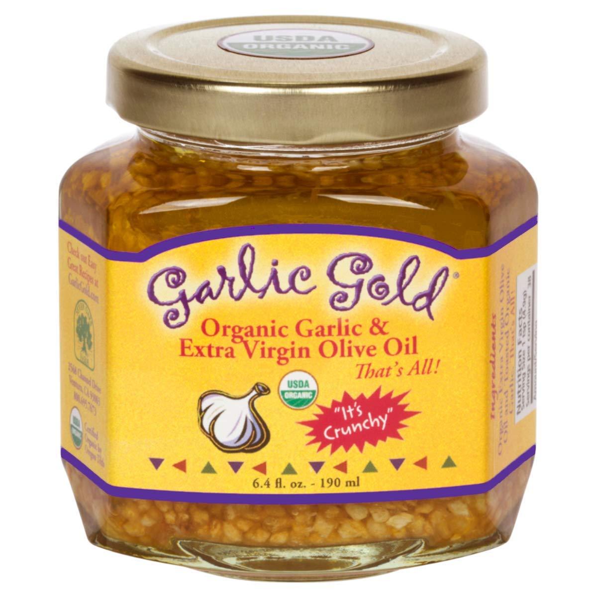 Garlic Gold, USDA Organic Toasted Crunchy Garlic Granules in Extra-Virgin Olive Oil – Soy Free, Sodium Free, Keto, Vegan, Paleo (Glass Jar – 6.4 Ounces)