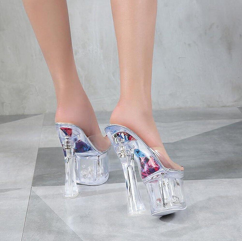 Damenschuhe PVC Sommer Herbst Club Schuhe Leuchten Heel Schuhe Heels Stiletto Heel Kristall Heel Translucent Heel Leuchten Crystal Heel für Party Silber 671389