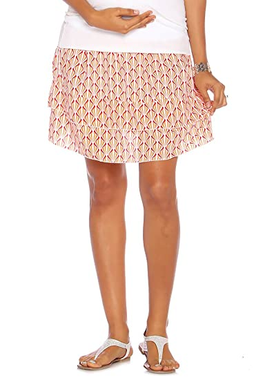 58478950e50e3 Due Maternity Abigail Pregnancy and Beyond Tiered Skirt - Fuchsia/Orange -  X-Small