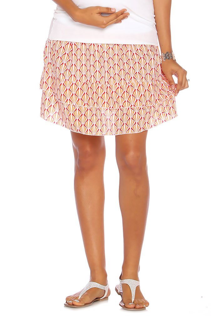 Due Maternity Abigail Pregnancy and Beyond Tiered Skirt - Fuchsia/Orange - Large