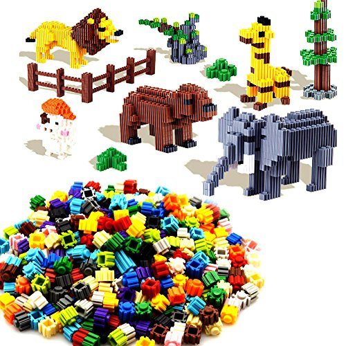 GearRoot 400PCS Mini Building Blocks Toy STEM Educational Toys Building Bricks Block Set to Make Multiple Shape Objects (Cartoon Minifigures, Vehicles, Animals) for 3+ Kids Boys Girls- 15 Colour